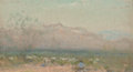 Fine Art - Painting, American:Antique  (Pre 1900), Frank Reaugh (American, 1860-1945). Landscape with Mountains andSheep. Pastel on board. 2-1/8 x 4 inches (5.4 x 10.2 cm...