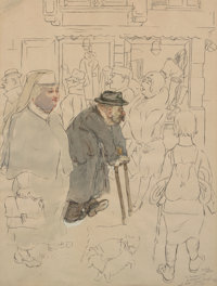 George Grosz (1893-1959) Untitled (Old Man and Woman), 1944 Ink and gouache on paper 23-3/4 x 18