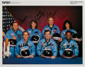 Autographs:Celebrities, Space Shuttle Challenger (STS-51-L) Crew-Signed Color Photo....