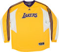 Basketball Collectibles:Uniforms, 2009 Derek Fisher Game Worn Los Angeles Lakers NBA Finals ShootingShirt. ...