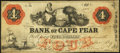 Obsoletes By State:North Carolina, Wilmington, NC- Bank of Cape Fear at Ashville Branch $4 Dec. 1, 1859 G182. ...