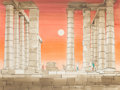 Fine Art - Painting, American:Contemporary   (1950 to present)  , Viktor Schreckengost (American, 1906-2008). Pillared Ruins,Greece, 1985. Watercolor and sepia ink on Whatman board. 30 ...