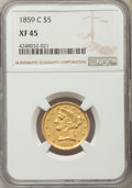 Liberty Half Eagles, 1859-C $5 XF45 NGC. Variety 2....