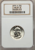 Washington Quarters, 1959-D 25C MS67 White NGC. NGC Census: (31/0). PCGS Population(15/0). Mintage: 62,054,232. Numismedia Wsl. Price for probl...