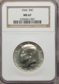 Kennedy Half Dollars, 1964 50C MS67 NGC. NGC Census: (44/0). PCGS Population (43/0).Mintage: 273,300,000. Numismedia Wsl. Price for problem free...