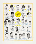 Baseball Collectibles:Others, 1980's Cincinnati Classic Multi Signed Poster with Mantle, DiMaggio& Ali. ...
