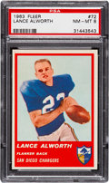 Football Cards:Singles (1960-1969), 1963 Fleer Lance Alworth (No Stripe) #72 PSA NM-MT 8....