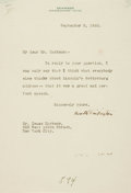 Autographs:Authors, [Abraham Lincoln]. Booth Tarkington Typed Letter Signed....
