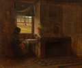 Paintings, Eastman Johnson (American, 1824-1906). Interior of a Farmhouse in Maine, 1865. Oil on canvas. 13-1/8 x 15-1/4 inches (33...