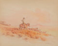 Fine Art - Work on Paper:Watercolor, Olaf Wieghorst (American, 1899-1988). Roping Cattle, 1920. Watercolor on paper laid on board. 10-5/8 x 13-1/2 inches (27...
