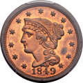 Proof Large Cents, 1849 1C N-18, R.6, PR64 Red and Brown PCGS....