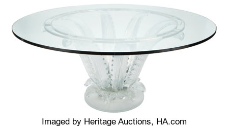 Marc Lalique (French, 1900-1977) Cactus Center Table, designed 1951, Lalique  Molded glass, chromed metal 28-5/8 inch...