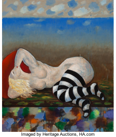 Elling Reitan (b. 1949)Reclining Madonna, 2014Oil on canvas39-1/4 x 33-1/4 inches (99.7 x 84.5 cm)Signed lower r...