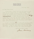 Autographs:Statesmen, Jane Addams Typed Letter Signed. ...