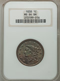 Large Cents: , 1838 1C MS64 Brown NGC. NGC Census: (93/77). PCGS Population (110/57). Mintage: 6,370,200. Numismedia Wsl. Price for proble...