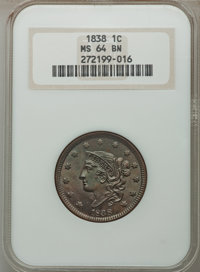 1838 1C MS64 Brown NGC. NGC Census: (93/77). PCGS Population (110/57). Mintage: 6,370,200. Numismedia Wsl. Price for pro...