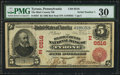 National Bank Notes:Pennsylvania, Tyrone, PA - $5 1902 Red Seal Fr. 587 The Blair County NB Ch. #(E)6516. ...