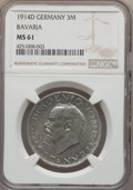 German States:Bavaria, German States: Bavaria. Pair of 3 Marks 1913-14,... (Total: 2coins)