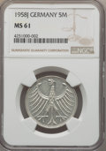 Germany:Federal Republic, Germany: Federal Republic 5 Mark 1958-J MS61 NGC,...