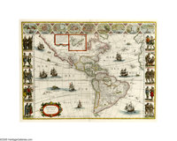 "Willem Blaeu map of the Americas, "" AMERICAE NOVA TABVLA"", Amsterdam, circa 1635, 22.5"" x 17.0"". A s..."