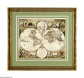 "Antiques:Posters & Prints, Frederic De Wit Map of the World, "" NOVA ORBIS TABVLA IN LVCEMEDITA"", 22.25"" x 19.0"", circa 1680, Amsterdam. Both hemi..."