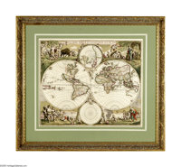 "Frederic De Wit Map of the World, "" NOVA ORBIS TABVLA IN LVCEM EDITA"", 22.25"" x 19.0"", circa 1680, A..."