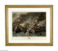 "Antiques:Posters & Prints, Engraving, ""The Battle at La Hogue"" by Benjamin West. Colored copper plate engraving by William Wollett, London, 24.5"" x 18..."