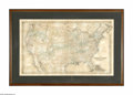 """Antiques:Posters & Prints, 1855 Map of the United States . Colored lithograph, 27.25"""" x 16.5"""", showing the young nation's railroads, towns and princip..."""