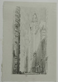 """Antiques:Posters & Prints, Society of Iconophiles Series VIII: Twelve Lithographs by Joseph Pennell (1905) of the """"Sky-Scrapers"""" of New York consisting... (Total: 12 items)"""