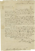 "Autographs:U.S. Presidents, George Washington Autograph Letter Signed, "" G Washington"".One page, 7.5"" x 11.0"", Mount Vernon, October 30, 1797 to B..."