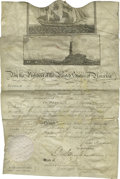 """Autographs:U.S. Presidents, Document Signed by James Madison as President Dated October 16, 1809, here is a document allowing passage of the ship """"Easte..."""