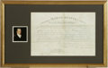 "Autographs:U.S. Presidents, James Monroe and John C. Calhoun Document Signed. One page, 15.5"" x10.5"", Washington, D.C., April 17, 1821. Partially prin..."