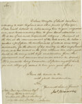 """Autographs:U.S. Presidents, James Monroe Letter Signed """"Jas Monroe"""". One page, 6.25"""" x 8.0"""", July, 1815, to John Quincy Adams, Minister in London. A..."""