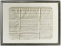 "Autographs:U.S. Presidents, John Quincy Adams Document Signed ""J.Q. Adams."" One page,12"" x 8.5"", Washington D.C., March 15, 1827. This land grant w..."