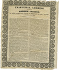 "Political:3D & Other Display (pre-1896), Andrew Jackson Rare and Smaller Version 1829 Inaugural AddressBroadside on Silk Measuring 10.25"" x 12.0"". Minor light ""ag..."