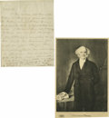 "Autographs:U.S. Presidents, Martin Van Buren Autograph Letter Signed ""M. Van Buren."" Onepage, 7.75"" x 10.75"", np, nd. The content is routine, discu...(Total: 2 )"