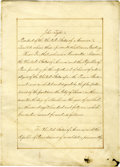 Autographs:U.S. Presidents, President John Tyler and Secretary of State Daniel Webster Sign theOriginal 1841 Ratification of the Treaty of Restitution Be...