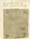 """Antiques:Textiles, Fabric Swatch From Lincoln's Deathbed, approximately .5"""" x .5"""". This small piece of linen comes from a larger swatch remove..."""