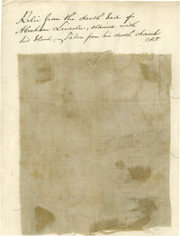 "Fabric Swatch From Lincoln's Deathbed, approximately .5"" x .5"". This small piece of linen comes from a larger..."