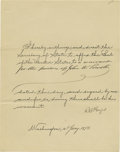 "Autographs:U.S. Presidents, Rutherford B. Hayes Document Signed as President, ""R BHayes"". Manuscript document, 8.0"" x 10.0"", Washington, D.C.,Janu..."