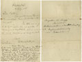 "Autographs:U.S. Presidents, Two Rutherford B. Hayes Autograph Letters Signed, "" RutherfordB. Hayes"". The first, one page, 5.5"" x 8.5"", Freemont, O..."