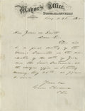"Autographs:U.S. Presidents, Grover Cleveland Autograph Letter Signed ""Grover ClevelandChrm."" One page document, measuring 8"" x 10.5"", dated Augus..."