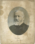 """Autographs:U.S. Presidents, Benjamin Harrison Photo Signed, """"Benj Harrison."""" Outside measurement is 11"""" x 13.75"""" with 9"""" oval image. """"Very truely ... (Total: 2 )"""