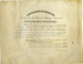 Autographs:U.S. Presidents, President Benjamin Harrison signed document Dated April 8, 1889,this certifies the appointment of James McDowell as Land O...