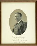 """Autographs:U.S. Presidents, Exceptional Theodore Roosevelt Signed Photo as President A superb quality oval studio photo bearing the imprint of """"C. M. Be..."""