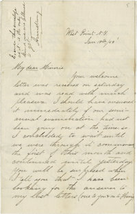 George Armstrong Custer: A Remarkable 8-page Autographed Letter Signed, Written as a 20 Year Old West Point Cadet to his...