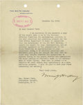 Autographs:U.S. Presidents, Warren G Harding Signature. Important letter from the President inconnection with the Air Mail Service. Typed letter signed...