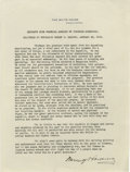 "Autographs:U.S. Presidents, Warren G. Harding Typed Document Signed, ""Warren G Harding"".""EXCERPTS FROM MEMORIAL ADDRESS ON THEODORE ROOSEVELT"", on..."