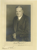 """Autographs:U.S. Presidents, Herbert Hoover Inscribed and Signed Photograph. Black and white, 9""""x 12"""", photograph of the president wearing a dark suit a..."""
