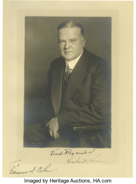 Black and white autographsu s presidents herbert hoover inscribed and signed photograph